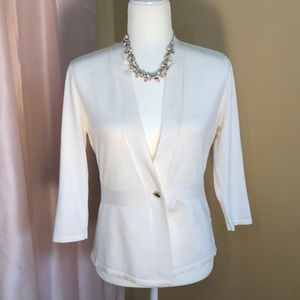 WHBM cream one button sweater. Size xs